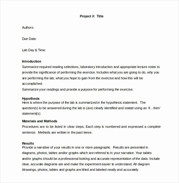 Formal Lab Report Template Inspirational 28 Lab Report Templates Pdf Google Docs Word Apple