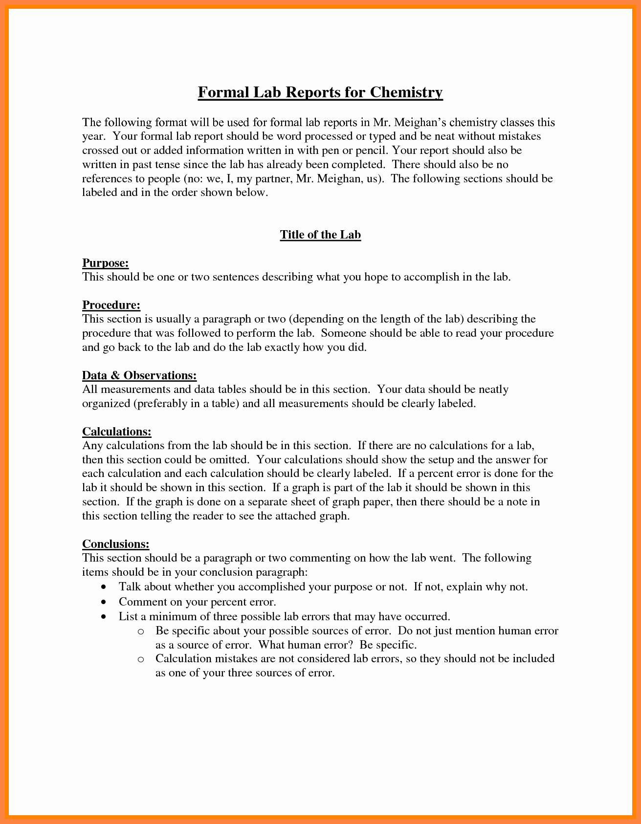 Formal Lab Report Template Lovely 8 formal Lab Report Example
