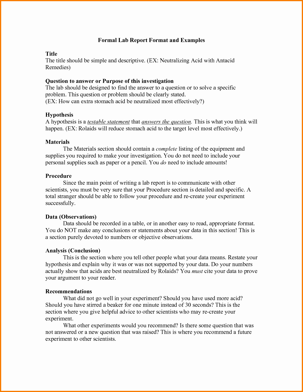 Formal Lab Report Template Luxury 11 formal Lab Report Template