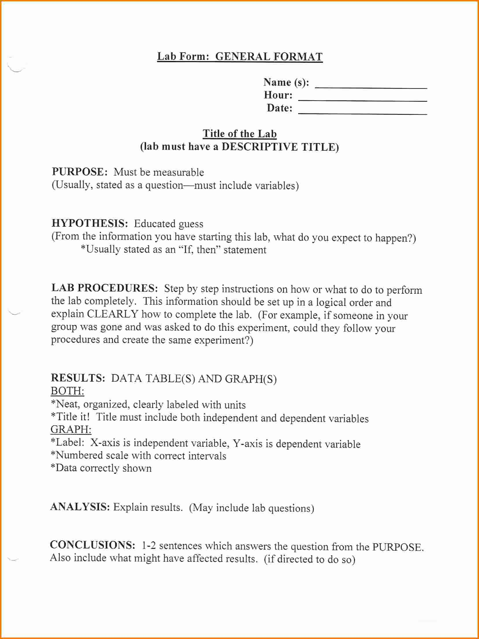 Formal Lab Report Template Luxury 4 formal Lab Report format High School