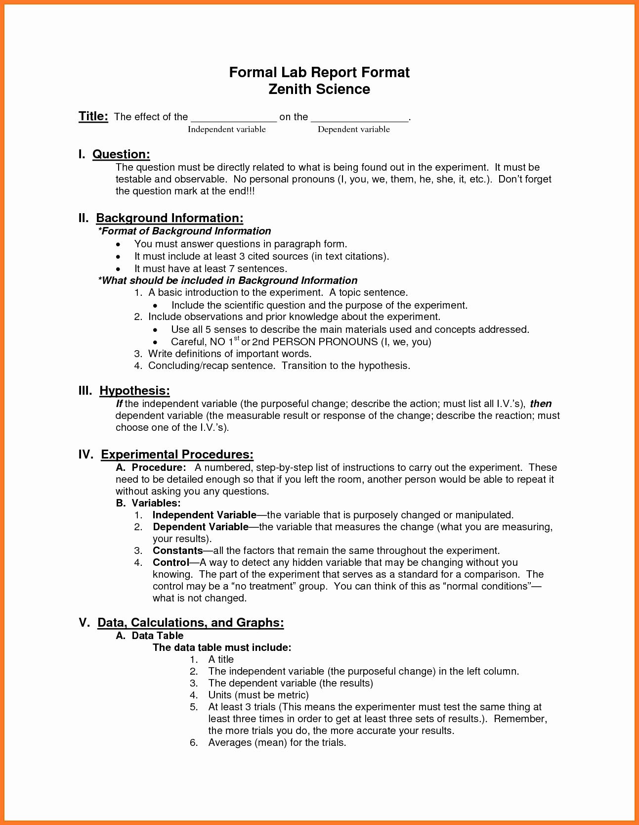 Formal Lab Report Template Luxury Report format Portablegasgrillweber