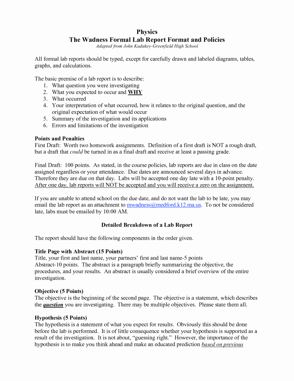 Formal Lab Report Template New formal Lab Report Template Physics Biological Science