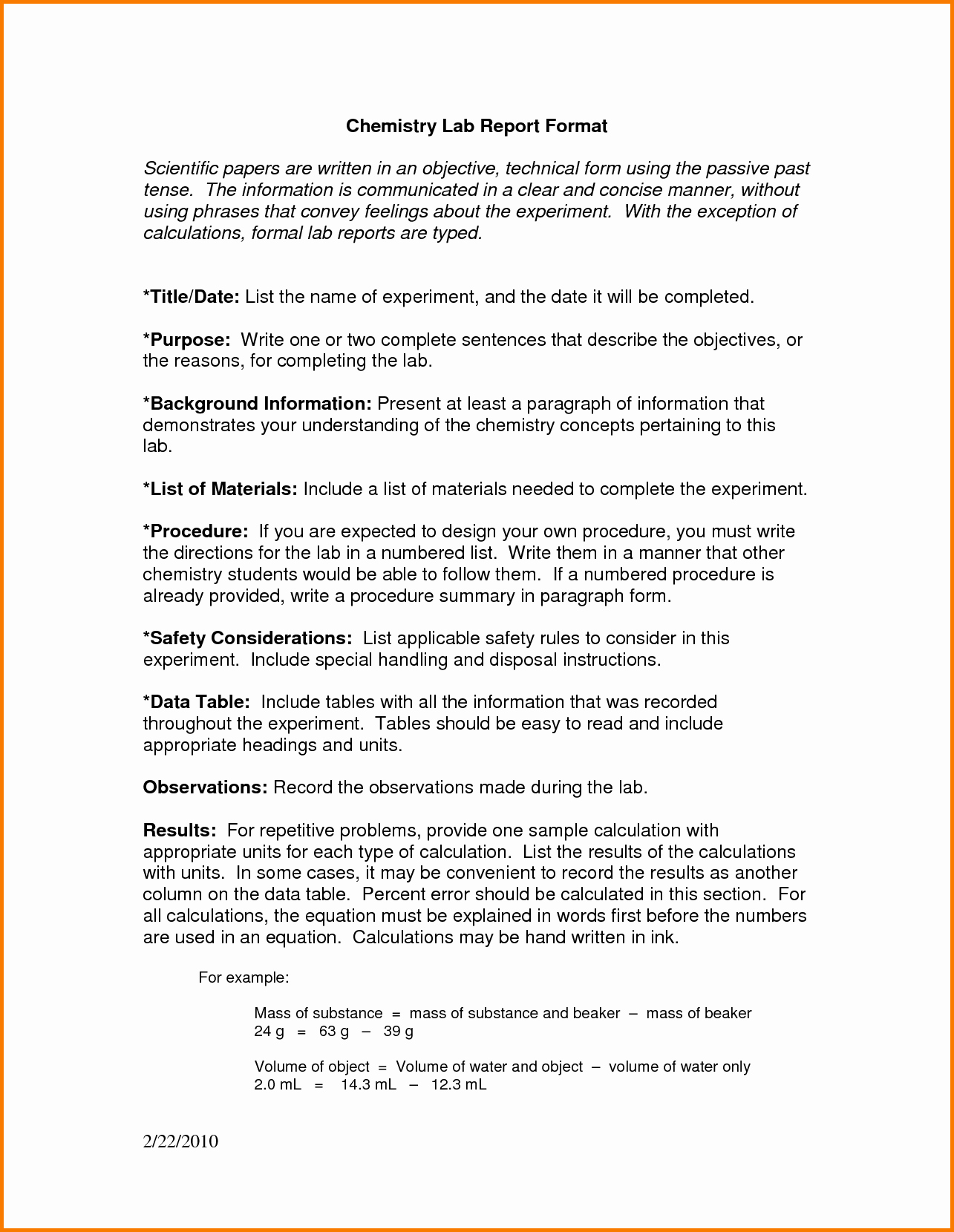 Formal Lab Report Template Unique 12 formal Lab Report Chemistry Example