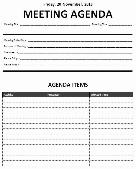 Formal Meeting Agenda Template Beautiful 15 Meeting Agenda Templates Excel Pdf formats