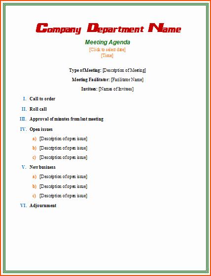 Formal Meeting Agenda Template Best Of 7 formal Meeting Bookletemplate