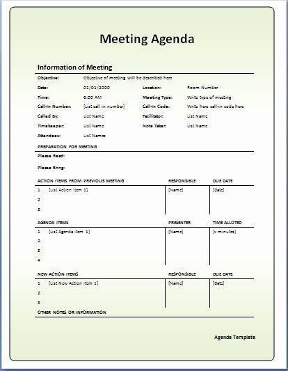 Formal Meeting Agenda Template Fresh 10 formally Used Agenda Templates