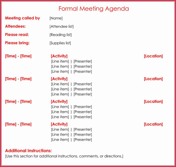Formal Meeting Agenda Template Inspirational formal Meeting Agenda Template 12 Best Samples for Word