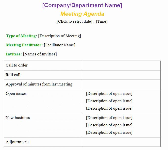 Formal Meeting Agenda Template Inspirational Meeting Agenda Template formal Microsoft Word Templates