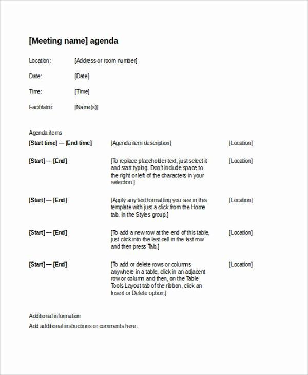 Formal Meeting Agenda Template Luxury 41 Meeting Agenda Templates
