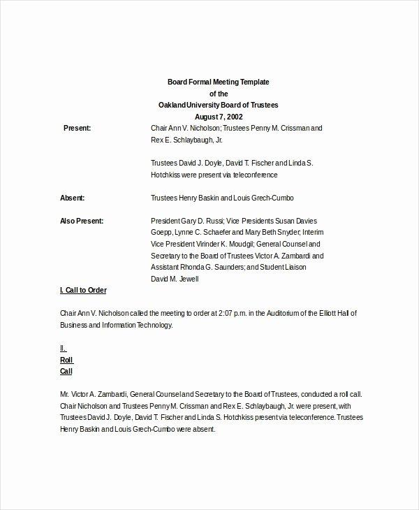 Formal Meeting Agenda Template Luxury formal Meeting Agenda Template – 7 Free Word Pdf