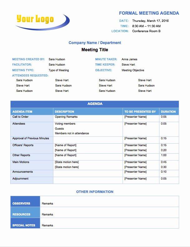 Formal Meeting Agenda Template Luxury Free Meeting Agenda Templates Smartsheet