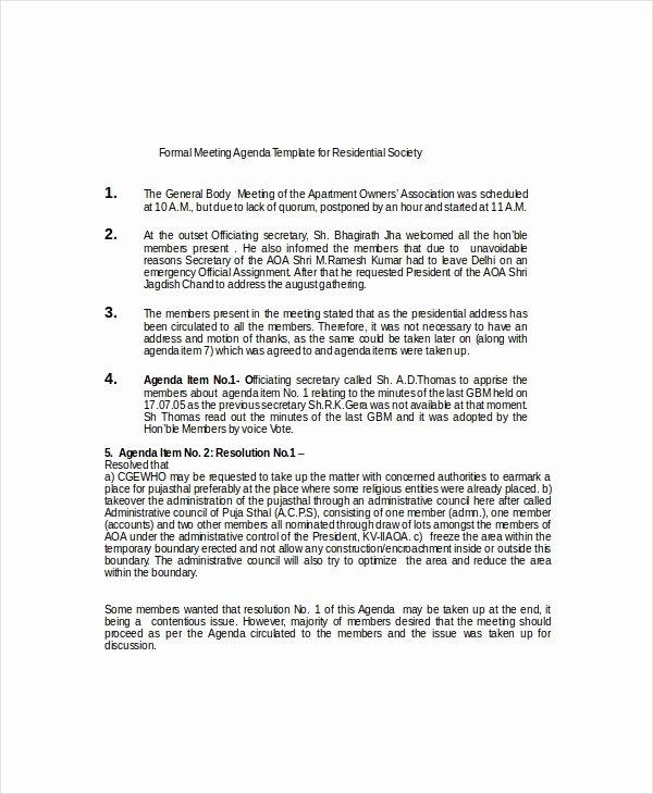 Formal Meeting Agenda Template New 9 formal Meeting Agenda Templates Pdf Doc