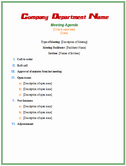 Formal Meeting Agenda Template New Meeting Agenda Template Microsoft Word Templates