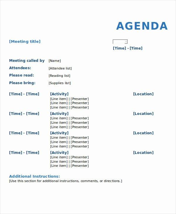 Formal Meeting Agenda Template Unique 10 Meeting Agenda Samples Free Sample Example format