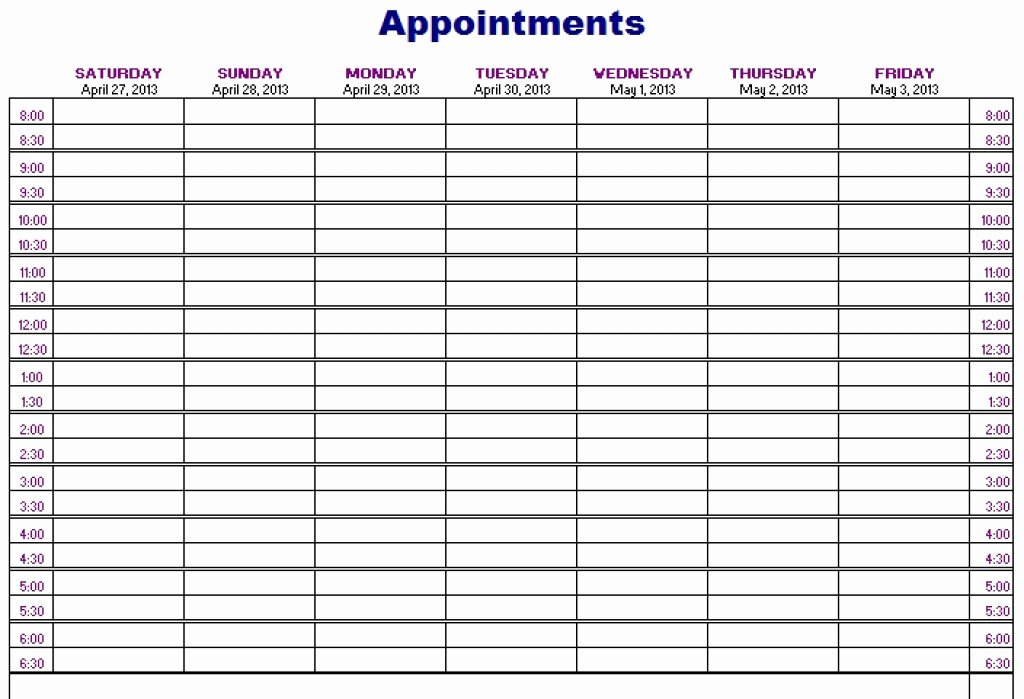 Free Appointment Calendar Template Awesome New Printable Weekly Appointment Calendar