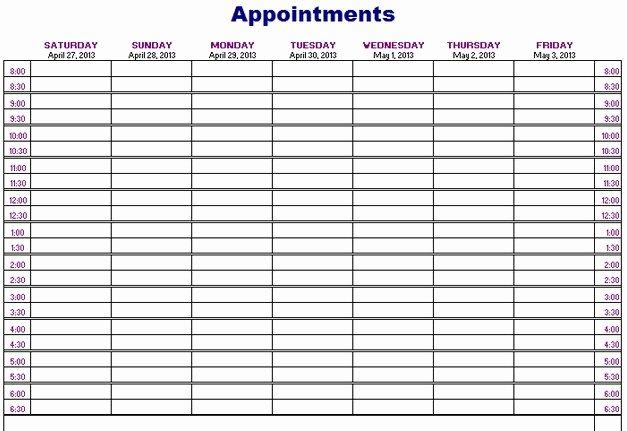 Free Appointment Calendar Template Elegant Appointment Calendar 2016 Template