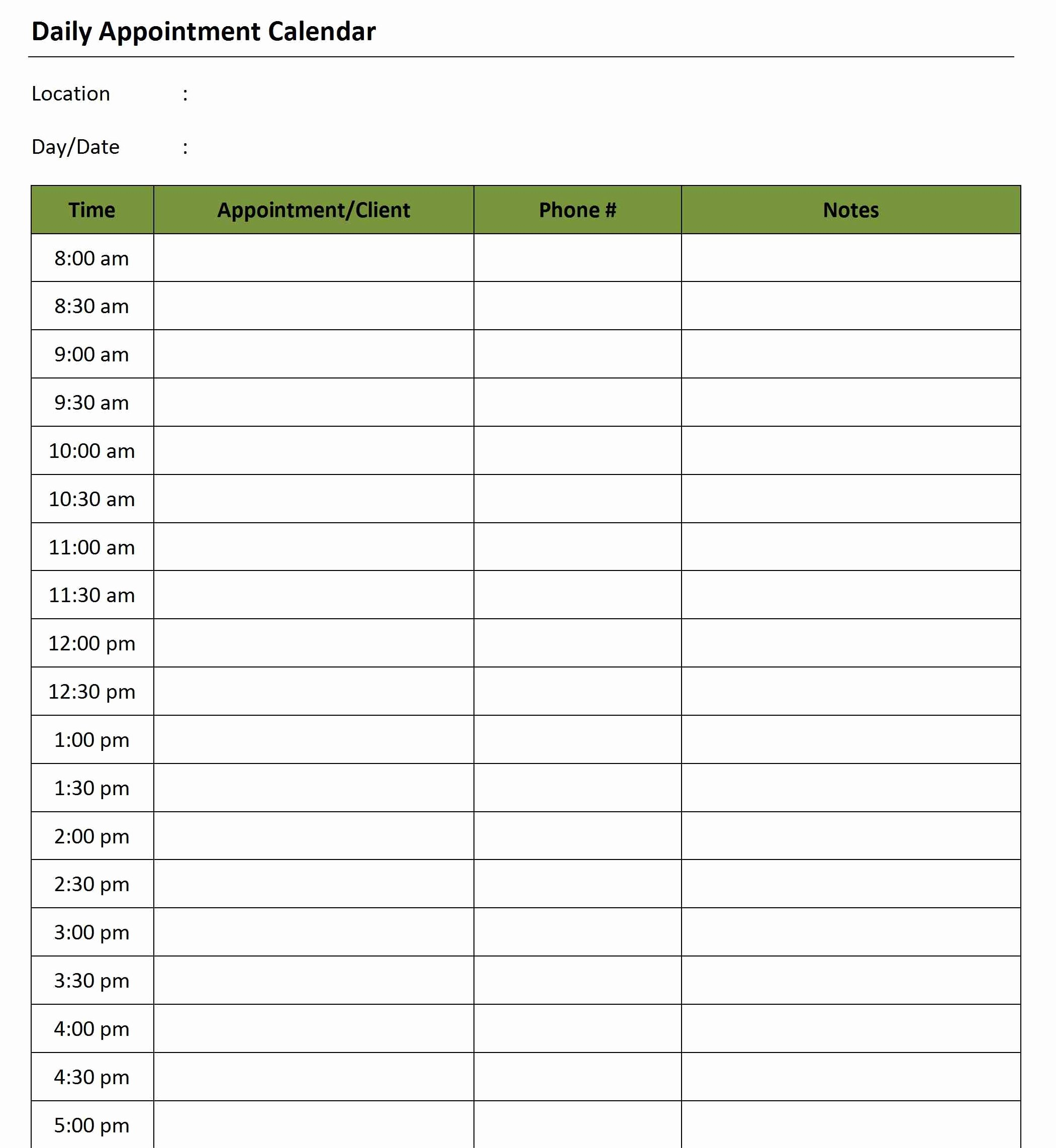 Free Appointment Calendar Template New Daily Appointment Calendar