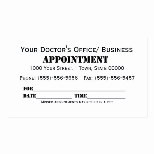 Free Appointment Card Template Awesome Appointment Double Sided Standard Business Cards Pack
