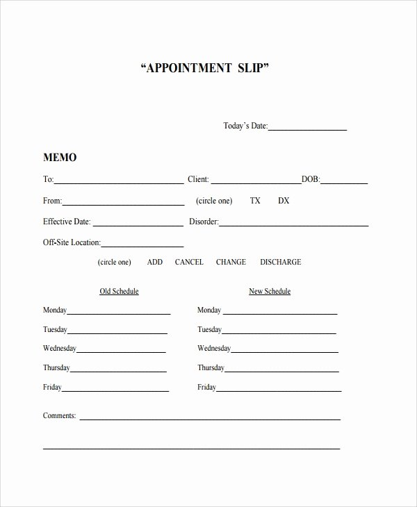 Free Appointment Card Template Best Of 8 Appointment Slip Templates