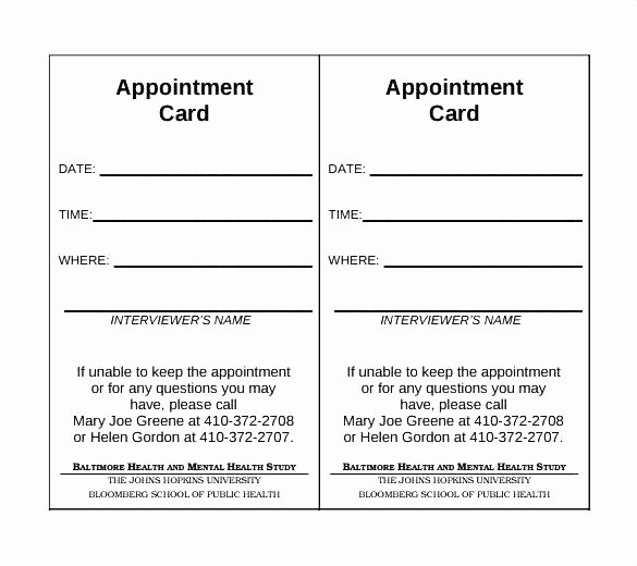 Free Appointment Card Template Best Of Doctors Appointment Card Template Doctor Visit form