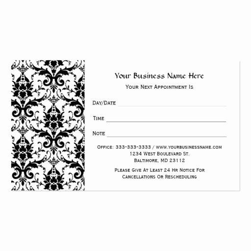 Free Appointment Card Template Elegant Elegant Black Damask Pattern Salon Appointment Business
