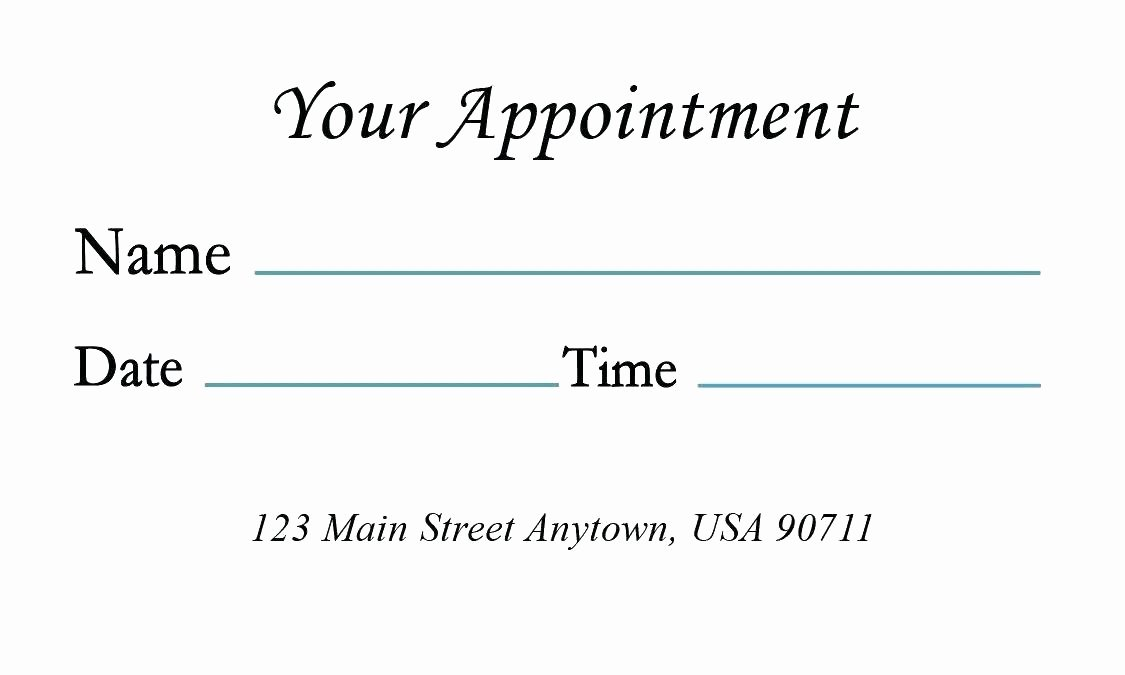 Free Appointment Card Template Fresh Appointment Card Template Word Medical with Design