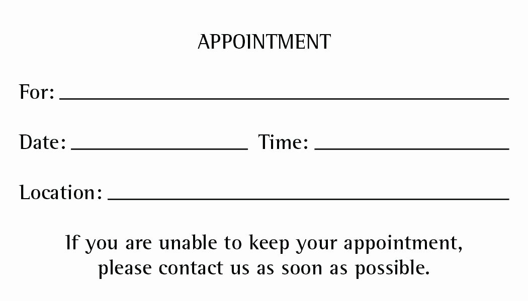 Free Appointment Card Template Lovely Free Appointment Reminder Template Cards Letter Templates