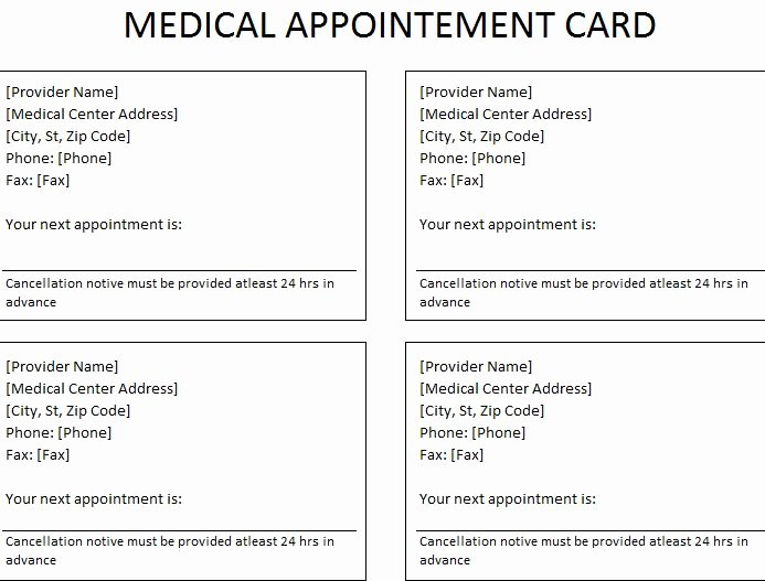 Free Appointment Card Template Lovely Medical Appointment Card
