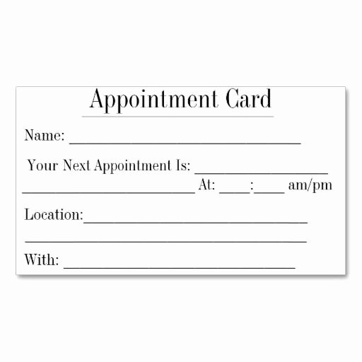 Free Appointment Card Template New Blank Printable Appointment Cards