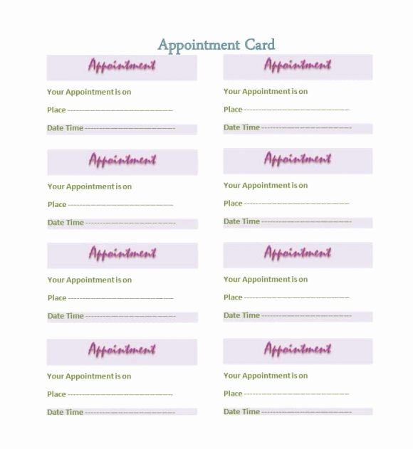 Free Appointment Card Template Unique 40 Appointment Cards Templates & Appointment Reminders
