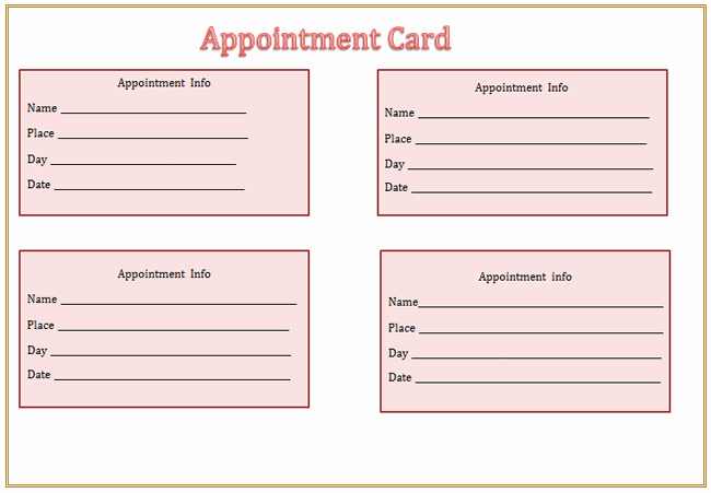 Free Appointment Card Template Unique Appointment Card Template Microsoft Word Templates
