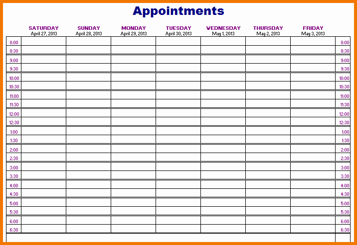 Free Appointment Schedule Template Beautiful Printable Appointment Calendar Printable 360 Degree