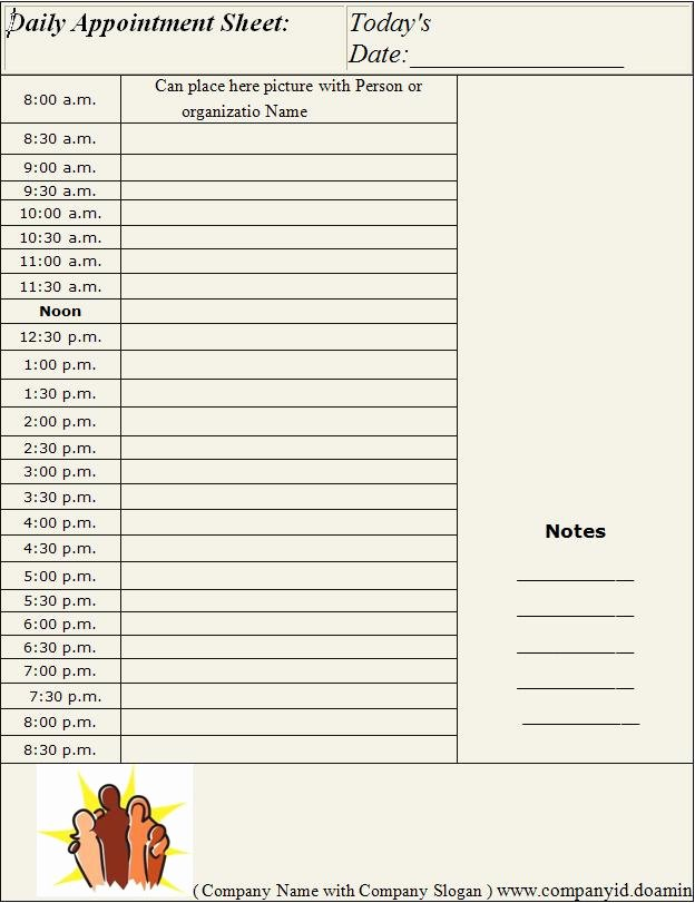 Free Appointment Schedule Template Elegant Daily Appointment Sheet Template