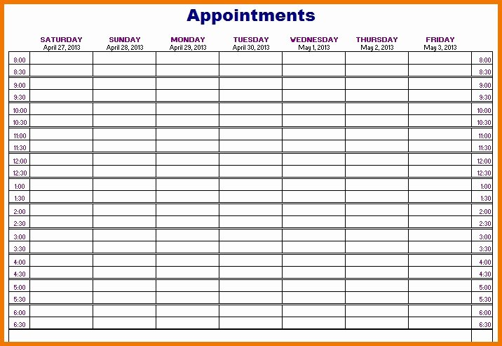 Free Appointment Schedule Template Elegant Unique Printable Appointment Calendar Template