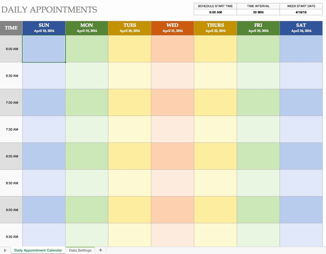 Free Appointment Schedule Template Inspirational Free Excel Calendar Templates