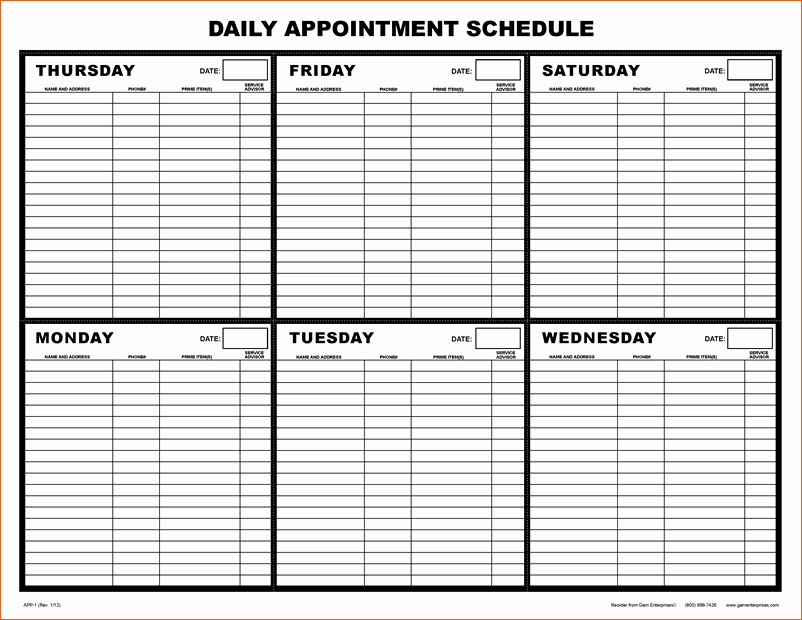 Free Appointment Schedule Template Unique 10 Daily Schedule