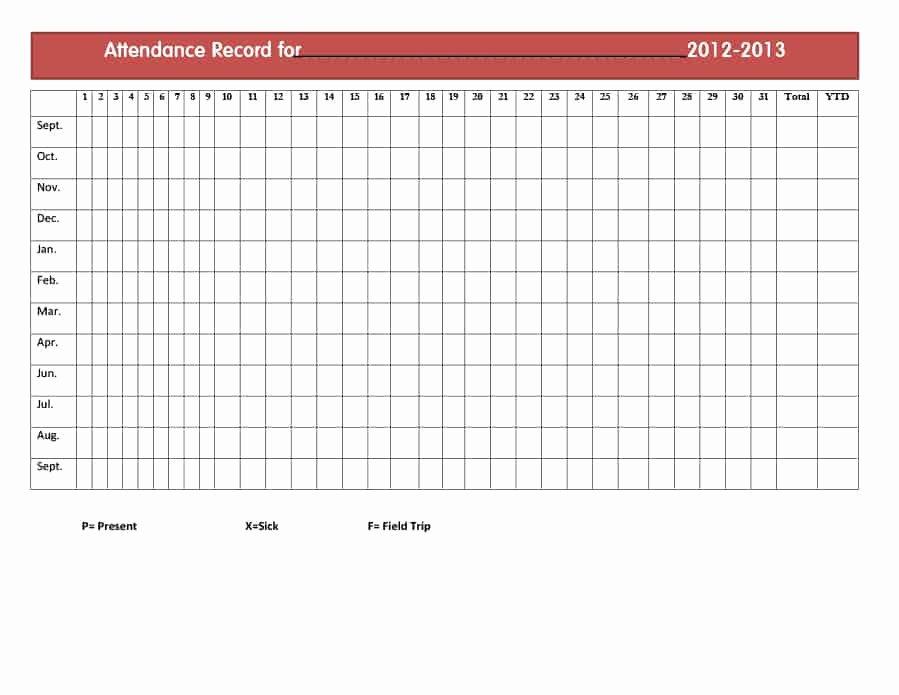 Free attendance Tracker Template Beautiful 40 Free attendance Tracker Templates [employee Student