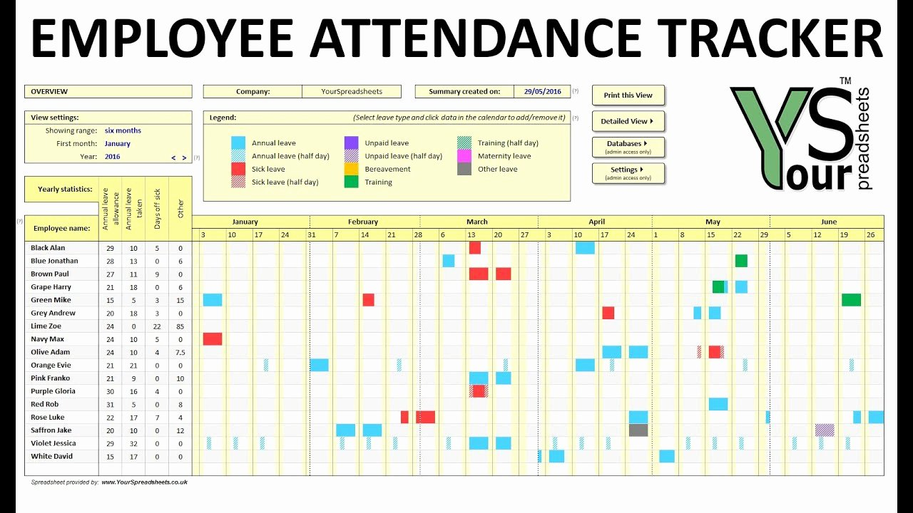 Free attendance Tracker Template Fresh Employee attendance Tracker Spreadsheet