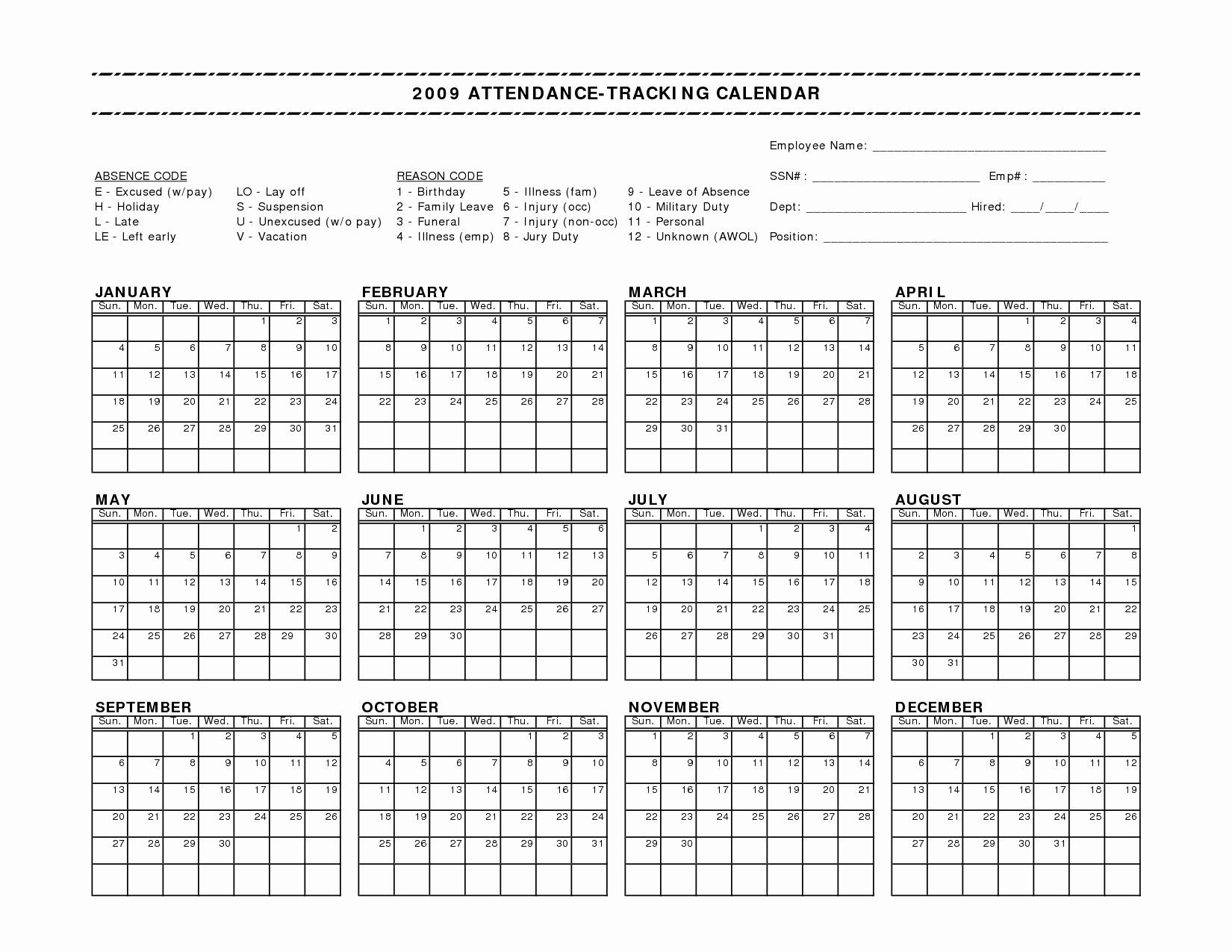 Free attendance Tracker Template Inspirational 10 Best Of Free Employee attendance Calendar form