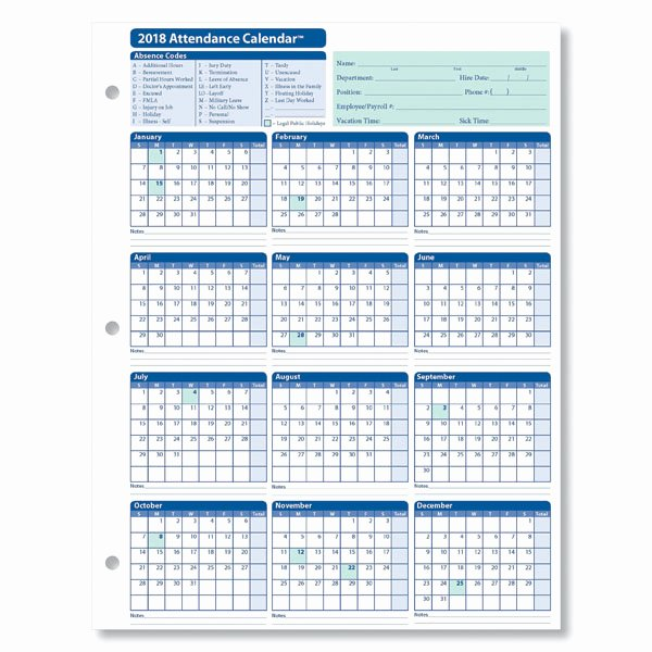 Free attendance Tracker Template Lovely Monthly Employee attendance Calendar Sheets Blank forms