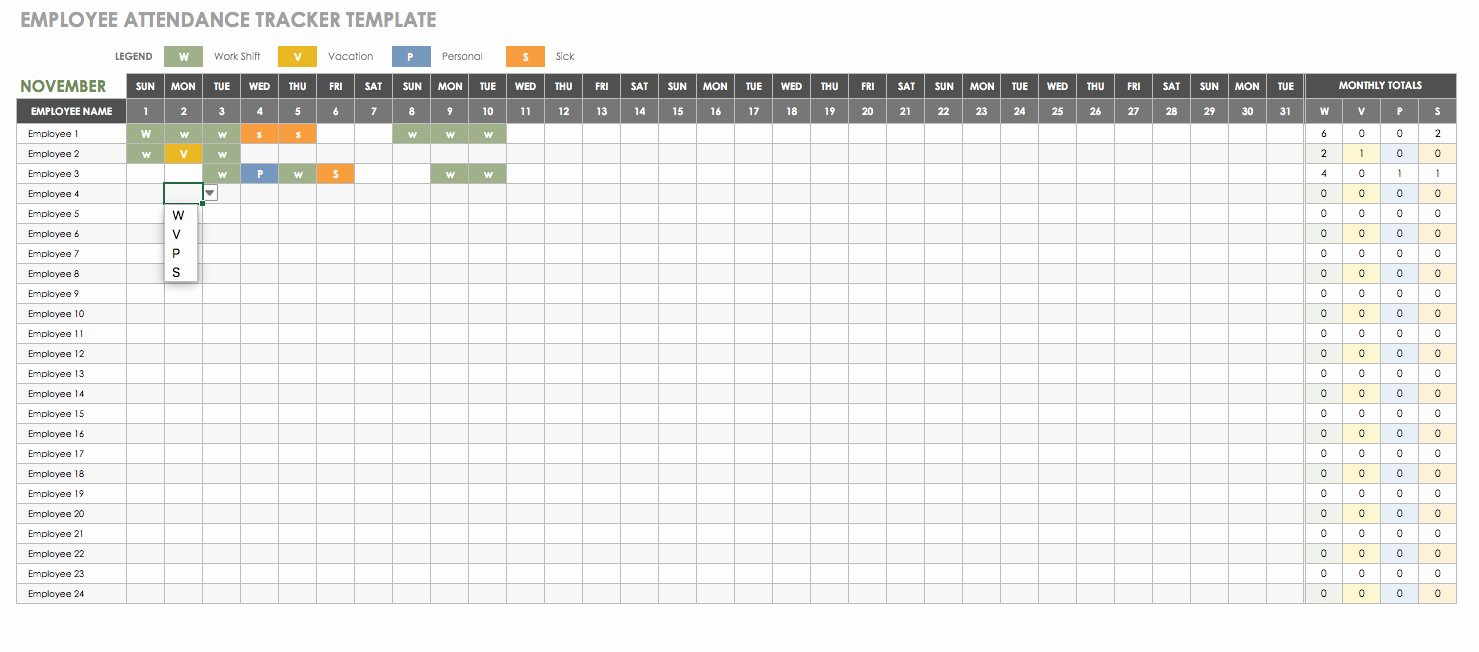 Free attendance Tracker Template Luxury Free Human Resources Templates In Excel