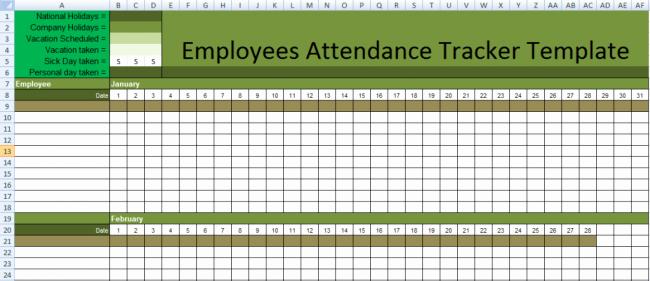 Free attendance Tracker Template Unique Stunning Employee attendance Tracker Sheet Example with