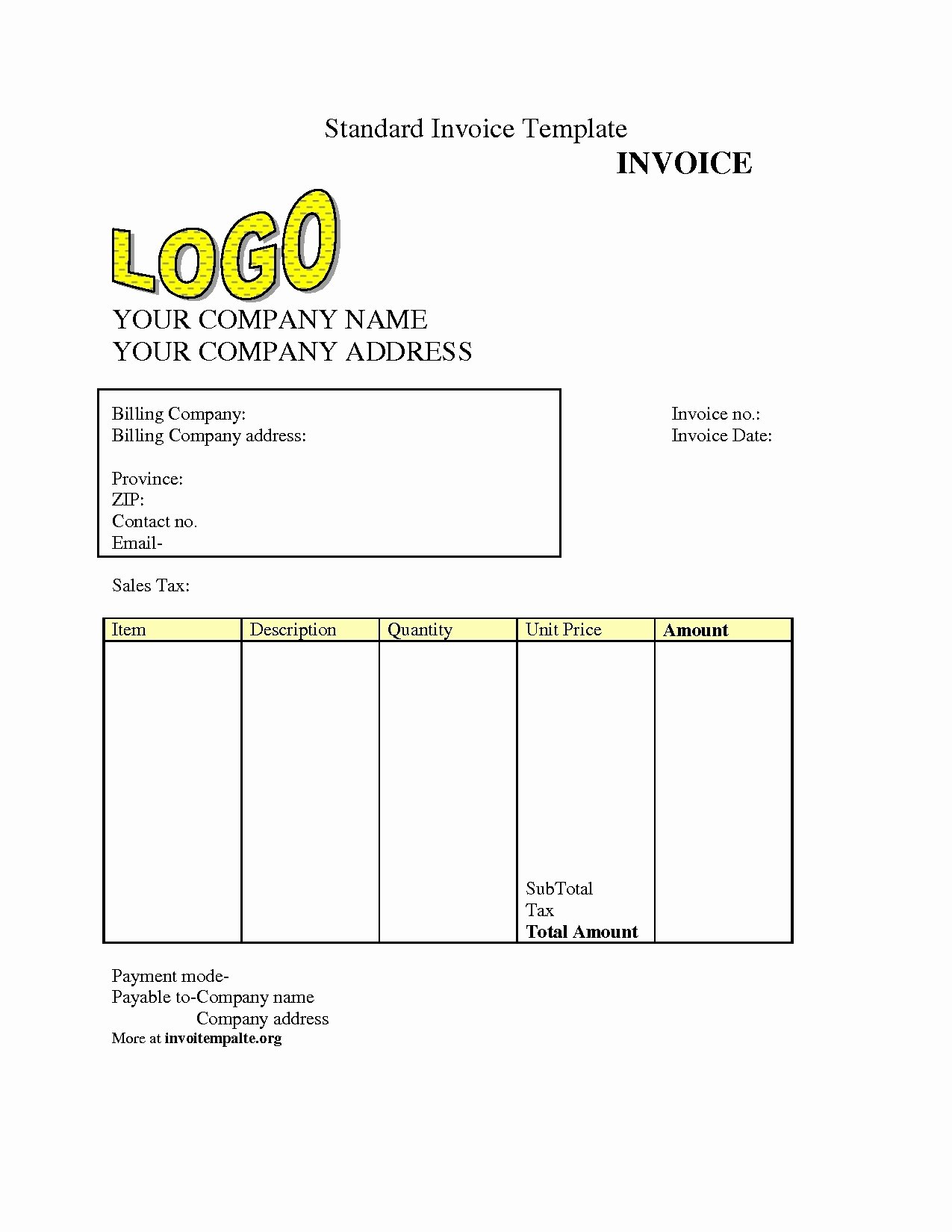 Free Billing Invoice Template Awesome Free Invoice Templet Invoice Template Ideas