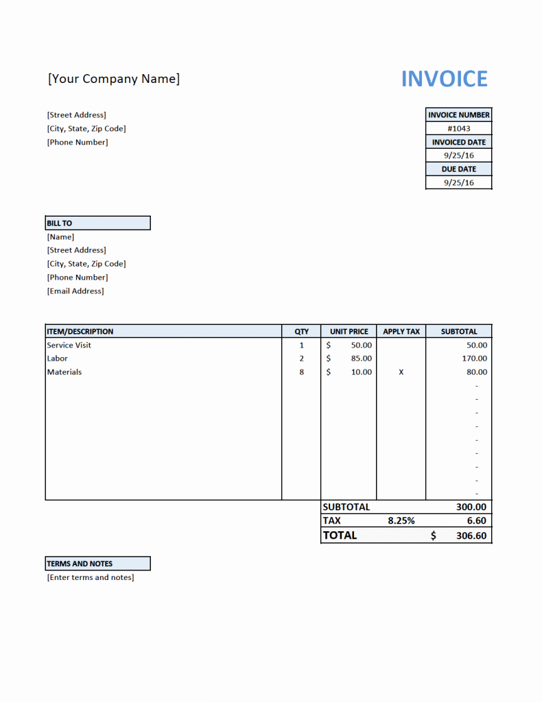 Free Billing Invoice Template Elegant Free Invoice Template for Contractors