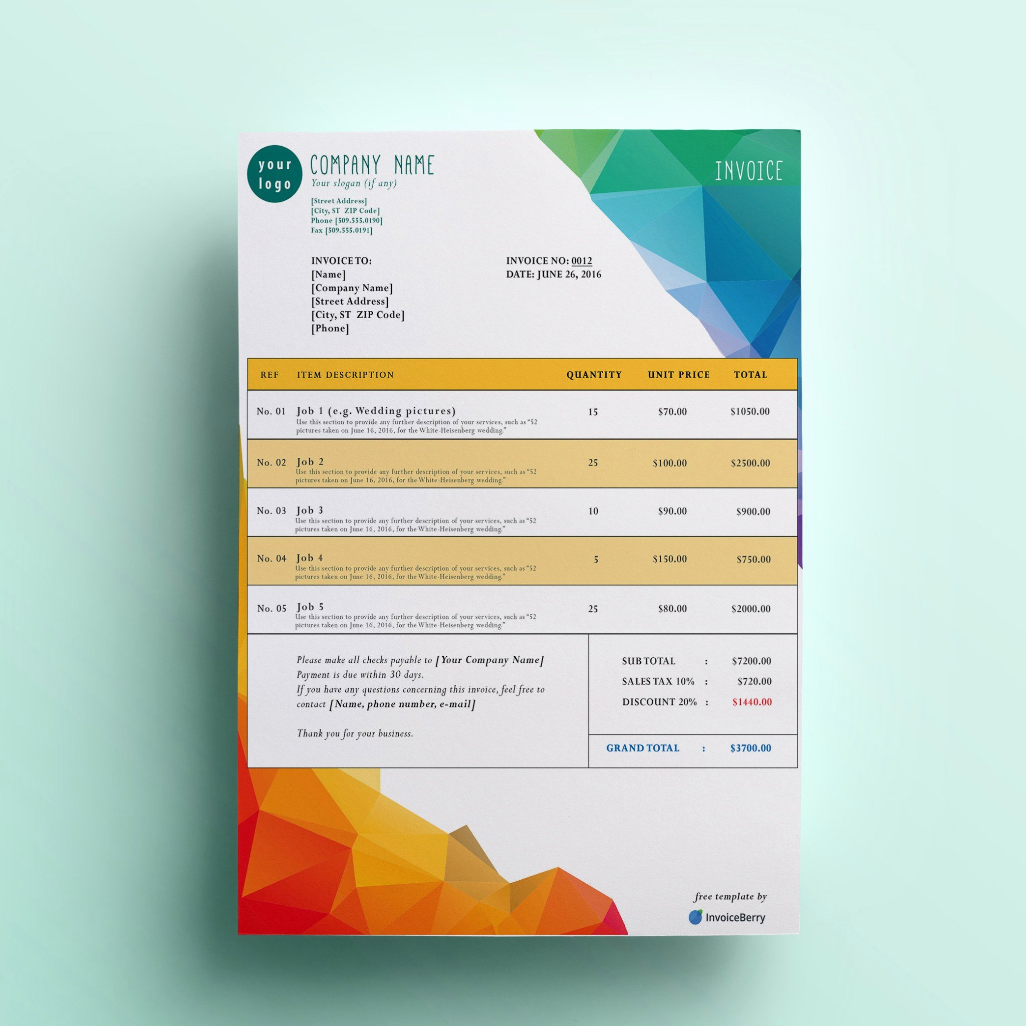 Free Billing Invoice Template Fresh Free Invoice Templates by Invoiceberry the Grid System