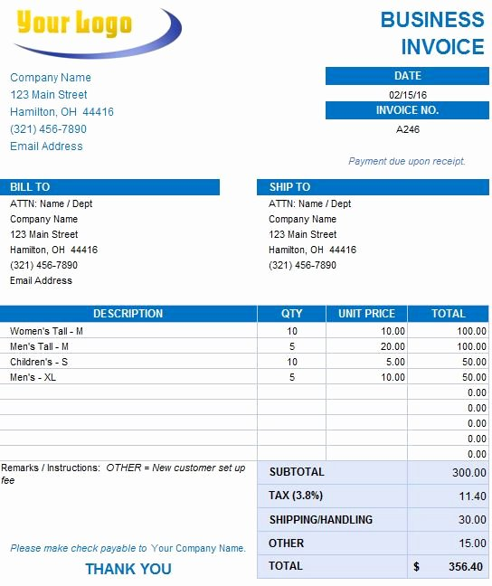 Free Business Invoice Template Fresh Free Excel Invoice Templates Smartsheet