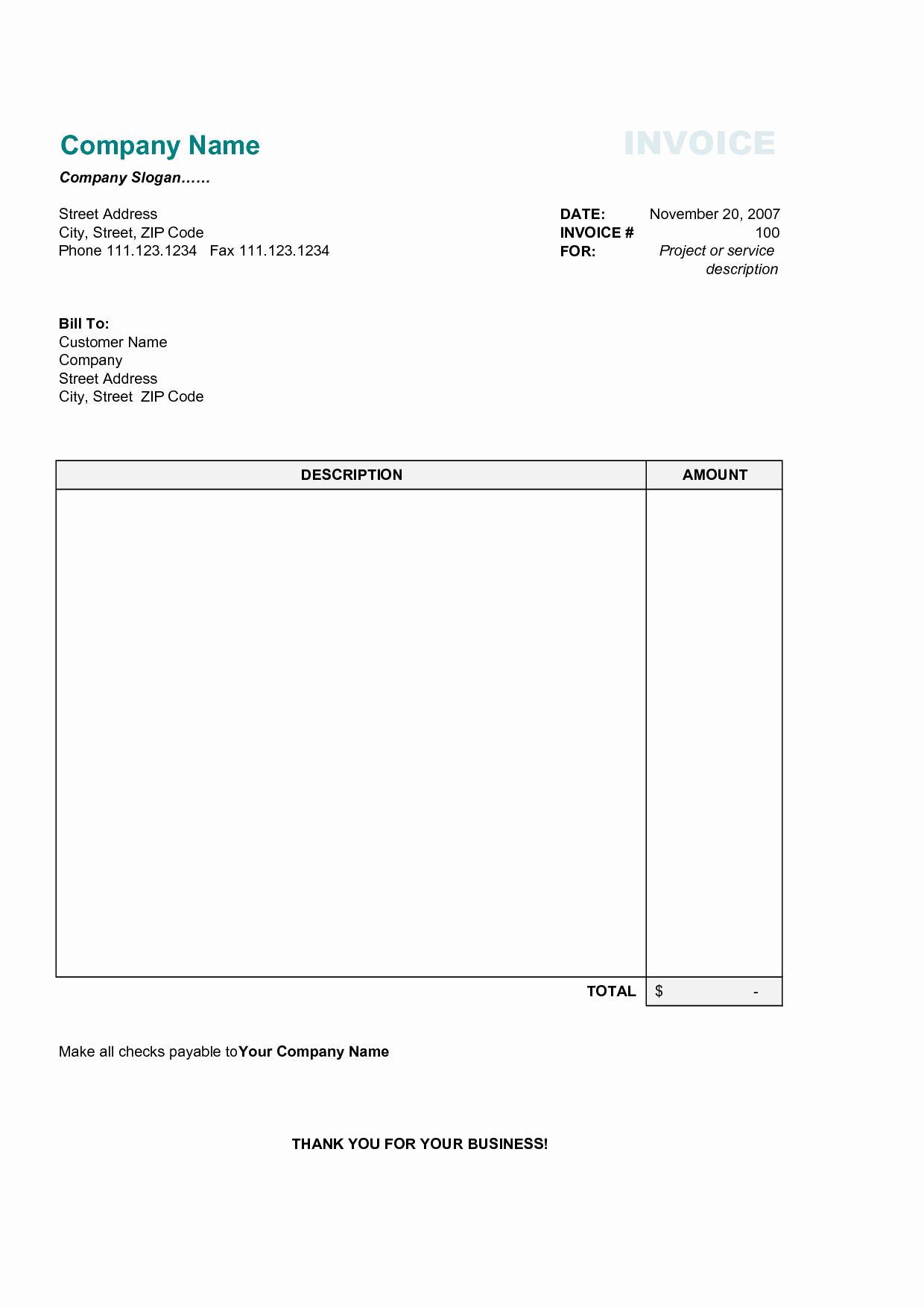 Free Business Invoice Template Unique Invoice Template Category Page 1 Efoza