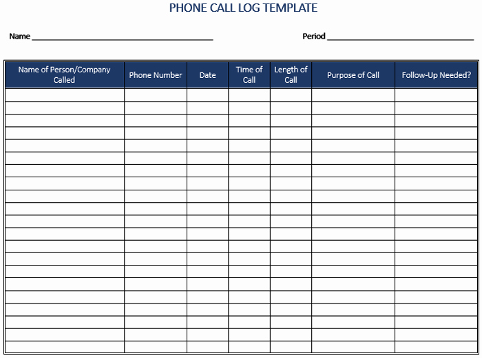 Free Call Log Template Awesome 5 Plus Call Log Templates to Keep Track Your Calls Inside