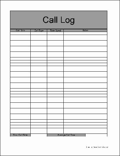 Free Call Log Template Elegant Free Basic Call Log form From formville