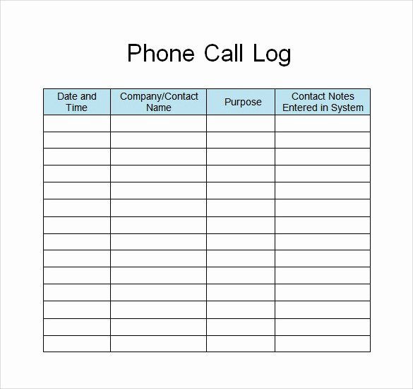 Free Call Log Template Fresh 28 Log Templates